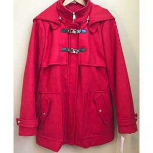 Jessica Simpson Wool Blend Red Pea Coat Size M